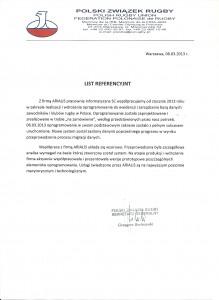List Referencyjny PZRUGBY
