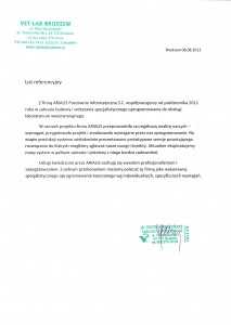 Referencja od Vet-Lab Brudzew